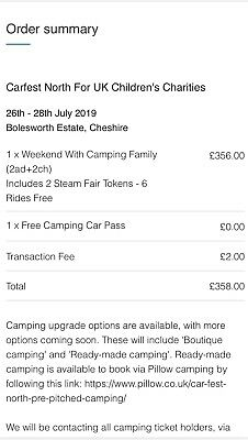 CARFEST NORTH WEEKEND FAMILY CAMPING TICKETS (2adults + 2children)