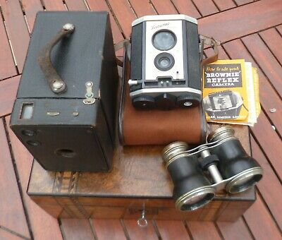 Joblot Of Cameras/Binoculars-Antique Box Brownie No 2, Kodak Reflex & Jockey