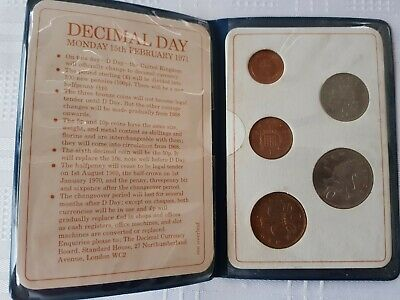 Britain's First Decimal Coins set. Issued 1971 - Uncirculated in plastic wallet.