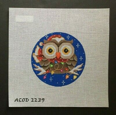 ACOD A Collection of Designs Hand-painted Needlepoint Canvas Santa Owl/Lights