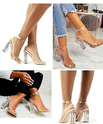 Womens Ladies High Heels Sandals Perspex Clear Block Heel Nude Party Shoes Size