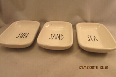 RAE DUNN Artisan Collection by magenta 3 PC. SET (SMALL DISHES) SUN, SAND SEA