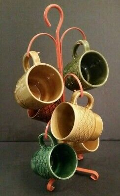 Vintage Mid Century JAPAN Ceramic Coffee Cup Mug Tree FALL Colors 1960's Kitsch