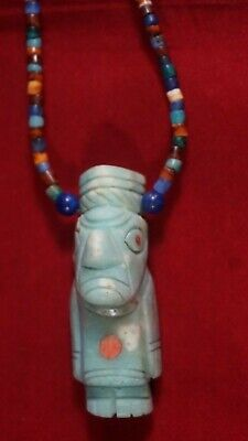 Peruvian pre-Columbian style necklace made with Andean Opalo stones - Idol