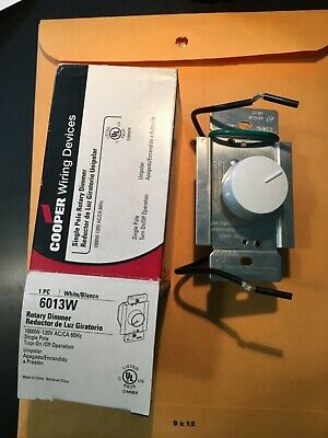Cooper Wiring 6013W White Single Pole Rotary Dimmer 1000w 120v - NEW