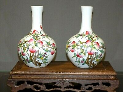 """Pair Of 7"""" Chinese Porcelain Vases 9 Peaches-Asian Oriental Japanese Cloisonne"""