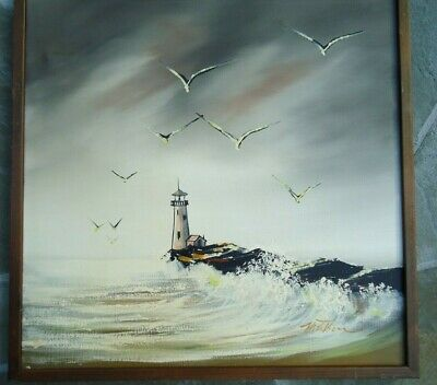 Vintage Mid Century Signed Oil Painting Seascape Seagull Lighthouse Storm Matson