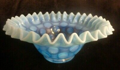 Vintage Fenton Light Blue Ruffled Edge Coin Dot Opalescent Bowl