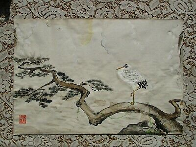 Old Antique Vintage Japanese KANO School Birds & Flower Watercolor Painting