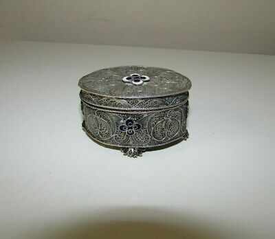 Antique Solid Silver Filigree Enameled Flowers Pill Box