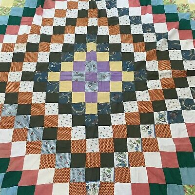 Vintage Patchwork Quilt Top Scrap Ugly Hand Pieced Trip Around The World
