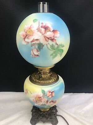 Antique Victorian Banquet GWTW Gone with the Wind Oil Lamp Handpainted Floral