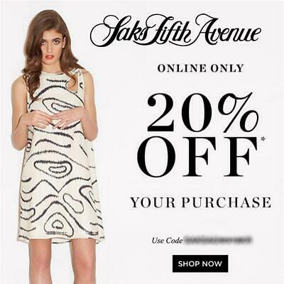 20% off SAKS FIFTH AVENUE Promo Coupon Code 2 DAYS ONLY Exp THUR 6/18 10 15 5th