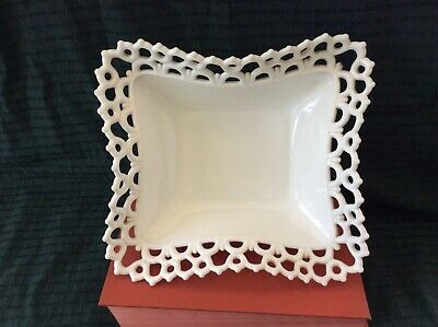 Open Lace White Milk Glass Vintage Footed Dish