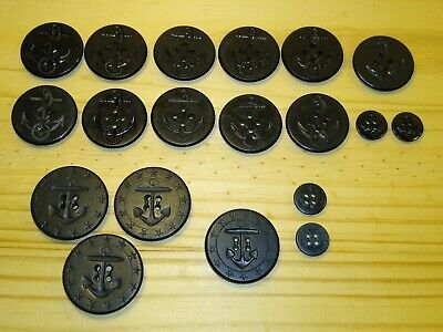 "Lot 3 WWI PEACOAT BUTTONS 13 STAR 1 3/8"" US Navy Black Anchor/Rope AHR HP Co ++"