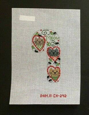 "Danji Designs Hand-painted Needlepoint Canvas ""Meow"" Candy Cane With Cats"