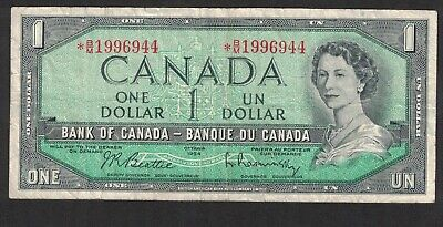 1954 Bank Of Canada Replacement 1 Dollar Bank Note Money Asterisk  * B/M 1996944