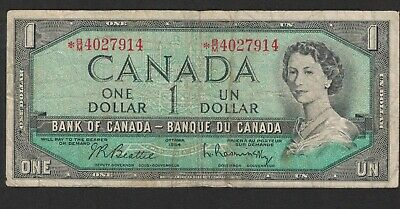 1954 Bank Of Canada Replacement 1 Dollar Bank Note Money Asterisk  * B/M 4027914
