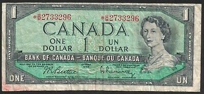 1954 Bank Of Canada Replacement 1 Dollar Bank Note Money Asterisk  * B/M 2733296