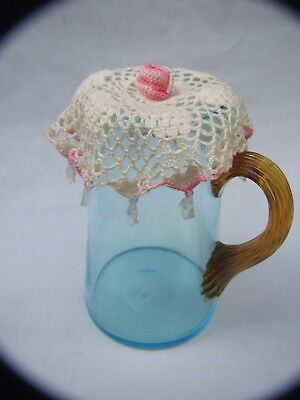 Antique Blue Water Milk  Glass Jug w Amber Glass Handle w Doilies 1900's