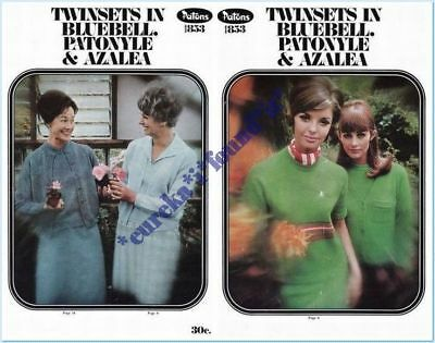 PATONS #853 LADYS' KNITTING PATTERNS TWIN SETS : 80 to 113cms : 32 to 45 inches