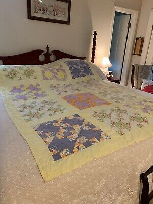 "Vintage Thin Yellow Cutter Hand Stitched Quilt 82"" By 62"""