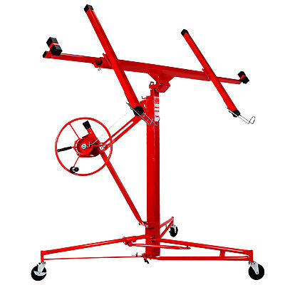 NEW 11' Drywall Lifter Panel Hoist Jack Rolling Caster Construction Lockable Red