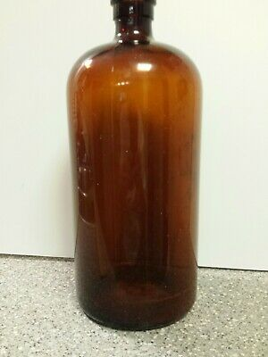 "Brown Amber Glass Bottle 5.5"" x 13"" Large Vintage Jar Medicine Apothecary"