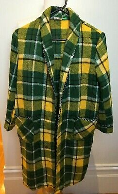 OCEAN Vintage Boys Green Yellow Tartan Plaid Wool Blend Dressing Bedroom Gown 10