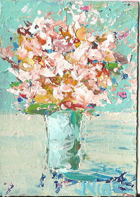 Flower Explosion Original Abstract Acrylic Knife Still Life Painting ACEO ART NR