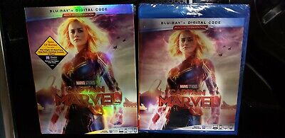 NEW - CAPTAIN MARVEL (BLU-RAY+DIGITAL) W/SLIPCOVER free first class shipping