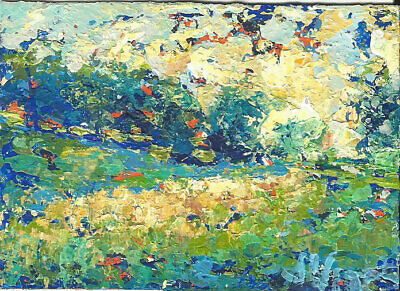 Hayfield Original Abstract Acrylic Knife Landscape Painting ACEO mini ART modern