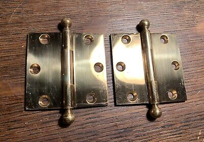 "2-1/2"" X  2-1/2"" Antique Yale Brass Loose Pin Ball  Finial Cabinet Butt Hinges"
