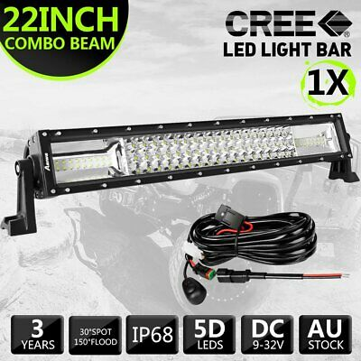 """22inch CREE LED Light Bar Spot Flood Offroad For Jeep 4WD 23"""" Free DT Wiring Kit"""