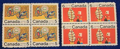 CANADA 2 DIFFERENT MINT NEVER HINGED CENTRE BLKS OF 4 STAMPS 1970 XMAS 522i 525i