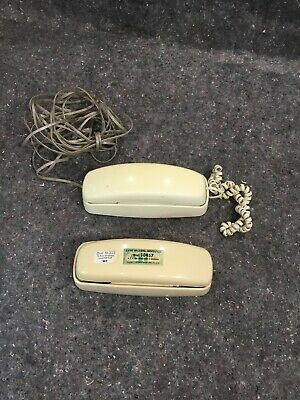 Two Vintage AT&T Telephone Push Button Corded Desk Wall Mount Trimline Phones
