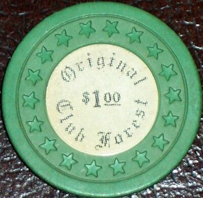 Old $1 CLUB FOREST Illegal Casino Poker Chip Vintage Stars Mold New Orleans LA