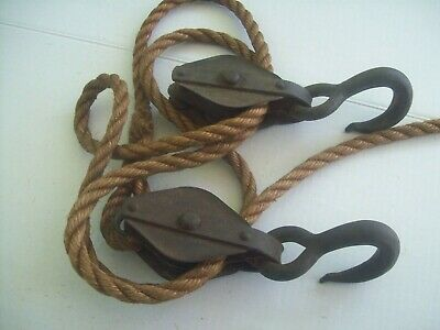 Vintage Industrial Double 2 Wheel Pulley And Hook System W/ Rope Steampunk