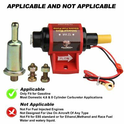 12V Universal 42S Red Electric Fuel Pump 2-3.5 PSI 28 GPH - Gasoline Only USA
