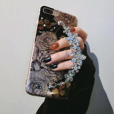 Luxury Bling Glitter Diamond Chain Soft TPU Case Cover For iPhone XS MAX XR 8 6s
