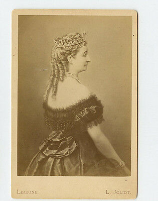 Vintage Cabinet Card Empress Eugénie of France Lejeune Photo