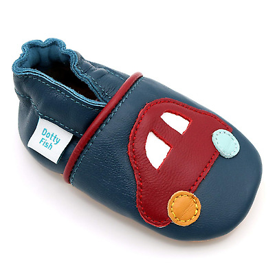 Dotty Fish Soft Leather Baby Shoes. Toddler Shoes. Non-Slip Suede Soles. Navy 9