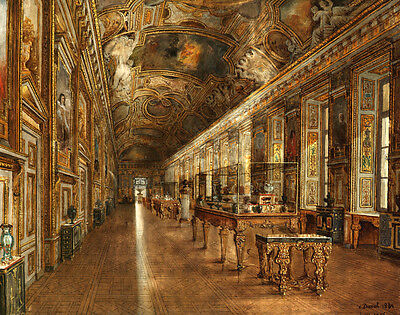 Louvre Museum Interior Scene Oil painting Canvas Giclee Art HD Print L1198