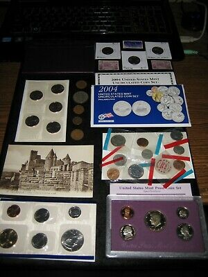 BIG Coin Lot 2004 Mint PROOF Set Lot Golden Dollar Cello Coin Lot Bison Postcard