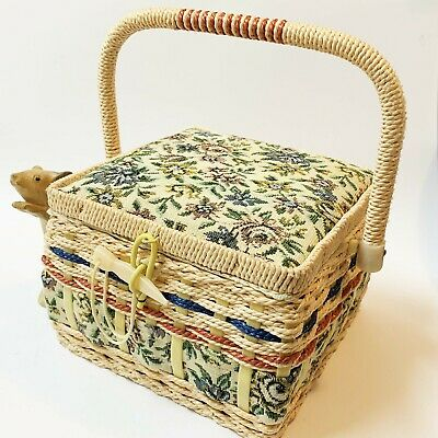 Sewing / Mending Storage Basket - Tapestry Fabric & Raffia Weave, Carry Handle