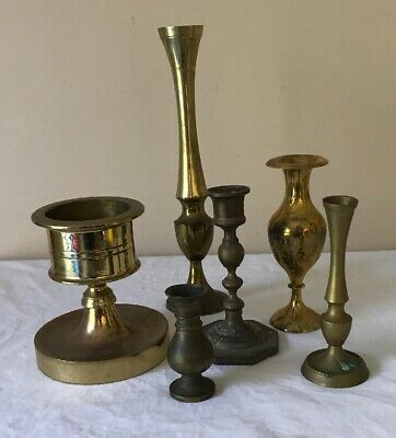 6 Brass Items Etched Vases & Decorative Candle Holder Vintage Very Good Conditin