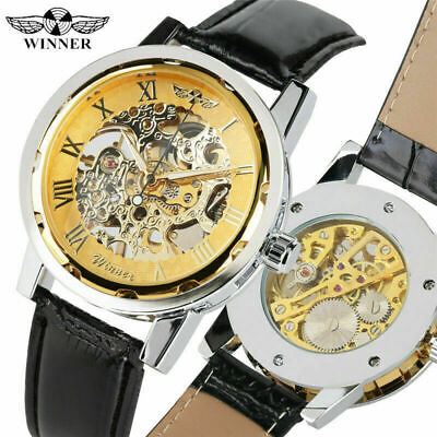 WINNER Fashion Men's Roman Numbers Mechanical Hand Winding Watch Leaher Strap