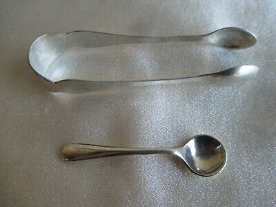 Antique Sterling Silver Sugar Tongs Chester 1907 & Salt Spoon Birmingham 1929