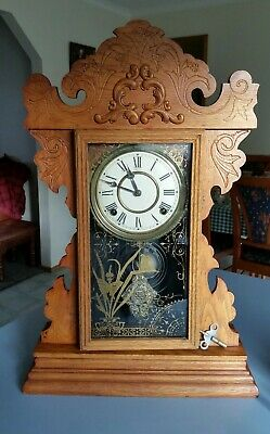 Antique Welch Mantle Clock. Collectable 1890 Origanal Gingerbread Pendulum 8 Day