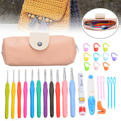 30/31x Crochet Hooks Kit Yarn Knitting Needles Sewing Tool Ergonomic Grip Bag